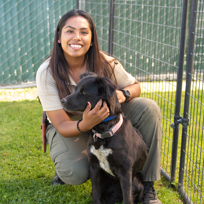 employee with dog